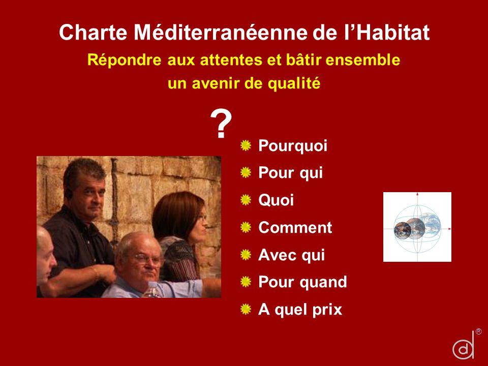 Charte Méditerranéenne de lHabitat Répondre aux attentes et bâtir ensemble un avenir de qualité Pourquoi Pour qui Quoi Comment Avec qui Pour quand A q