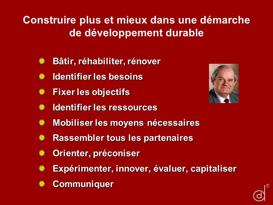 Construire plus et mieux dans une démarche de développement durable Bâtir, réhabiliter, rénover Identifier les besoins Fixer les objectifs Identifier
