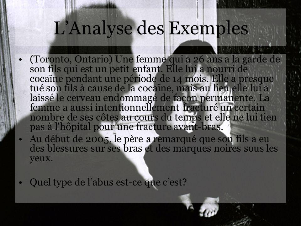 LAnalyse des Exemples (Toronto, Ontario) Une femme qui a 26 ans a la garde de son fils qui est un petit enfant. Elle lui a nourri de cocaïne pendant u