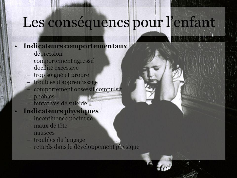 Les conséquencs pour lenfant Indicateurs comportementaux –dépression –comportement agressif –docilité excessive –trop soigné et propre –troubles dappr