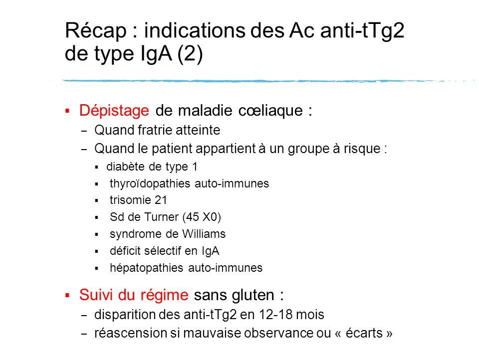 Récap : indications des Ac anti-tTg2 de type IgA (2) Dépistage de maladie cœliaque : – Quand fratrie atteinte – Quand le patient appartient à un group