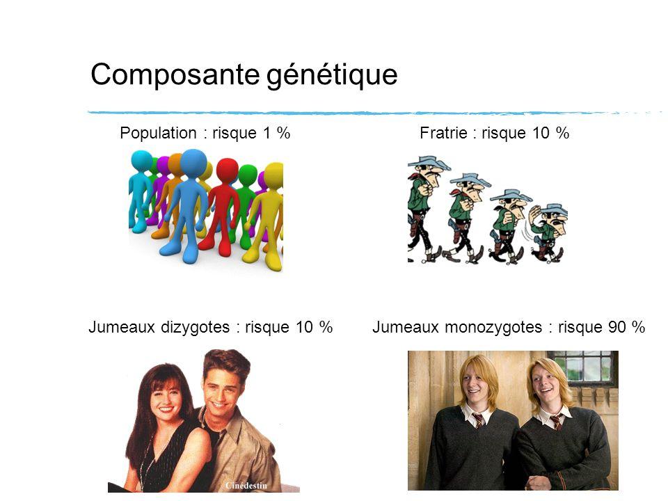 Composante génétique Population : risque 1 %Fratrie : risque 10 % Jumeaux dizygotes : risque 10 %Jumeaux monozygotes : risque 90 % Au sein dune fratrie : - même HLA : 30 % - 1 haplotype commun : 7 % - aucun haplotype commun : 0,1 %