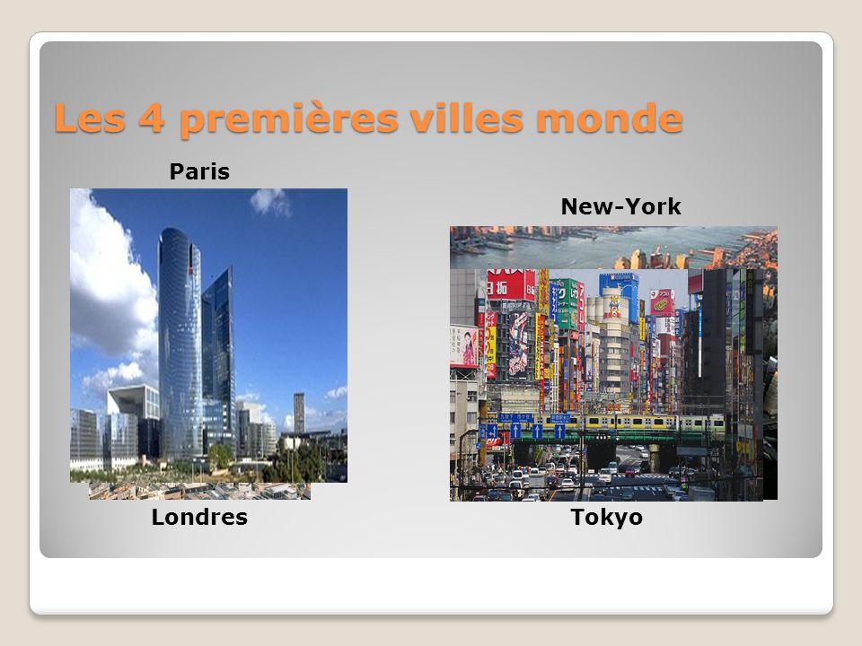 Les 4 premières villes monde Londres New-York Paris Tokyo