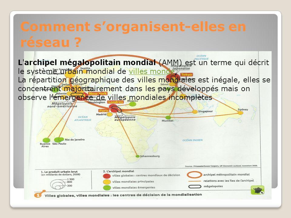 Comment sorganisent-elles en réseau ? L'archipel mégalopolitain mondial (AMM) est un terme qui décrit le système urbain mondial de villes monde,villes