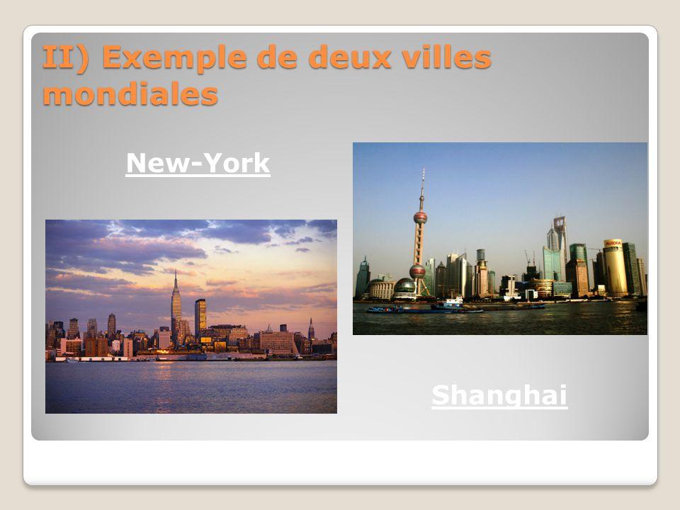 II) Exemple de deux villes mondiales New-York Shanghai
