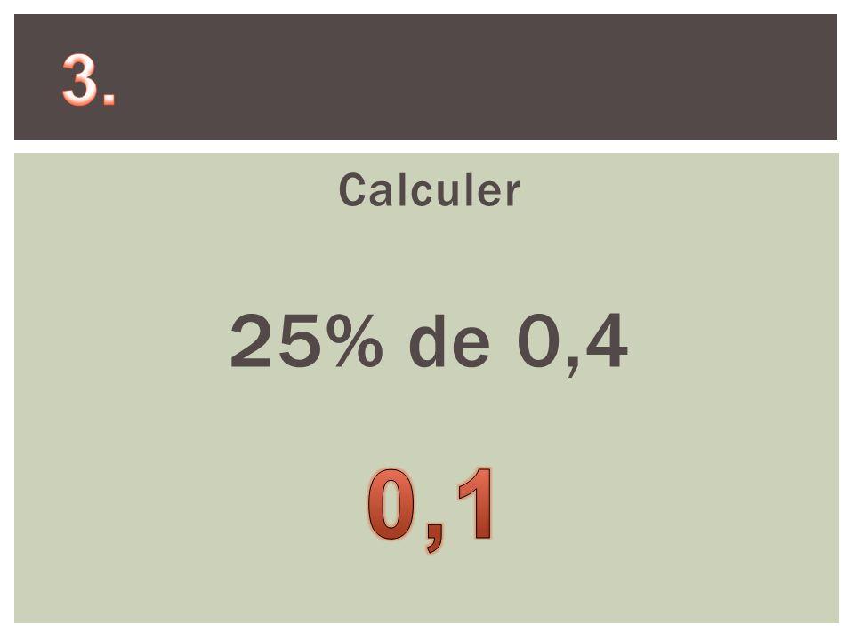 Calculer 25% de 0,4