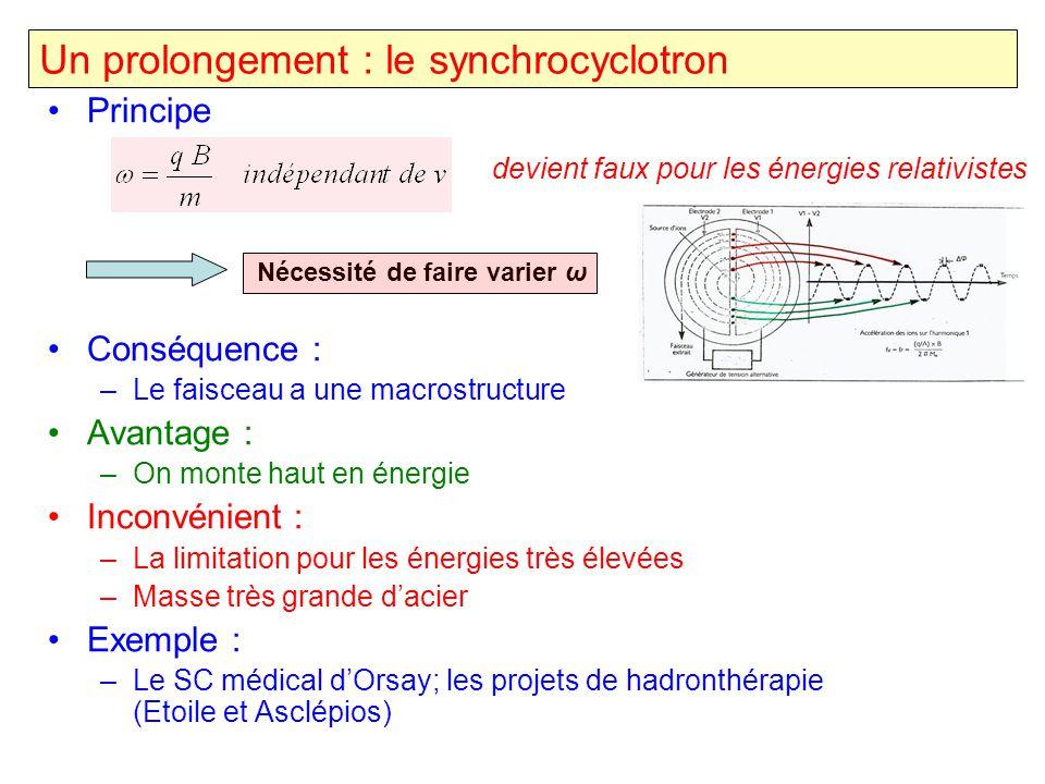 Un prolongement : le synchrocyclotron Principe Nécessité de faire varier ω Conséquence : –Le faisceau a une macrostructure Avantage : –On monte haut e