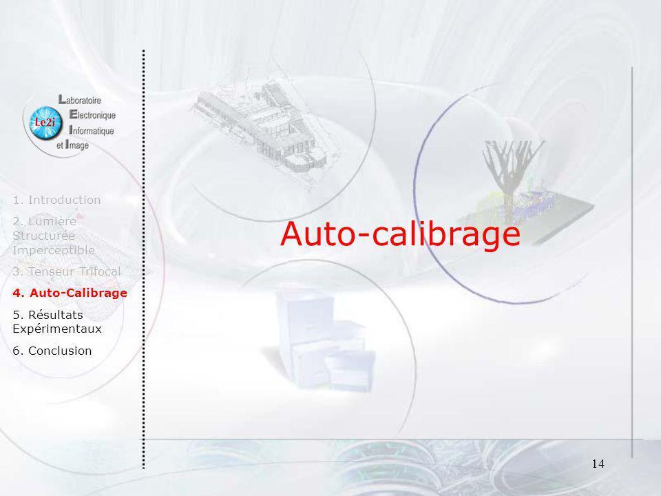 14 Auto-calibrage 1. Introduction 2. Lumière Structurée Imperceptible 3. Tenseur Trifocal 4. Auto-Calibrage 5. Résultats Expérimentaux 6. Conclusion