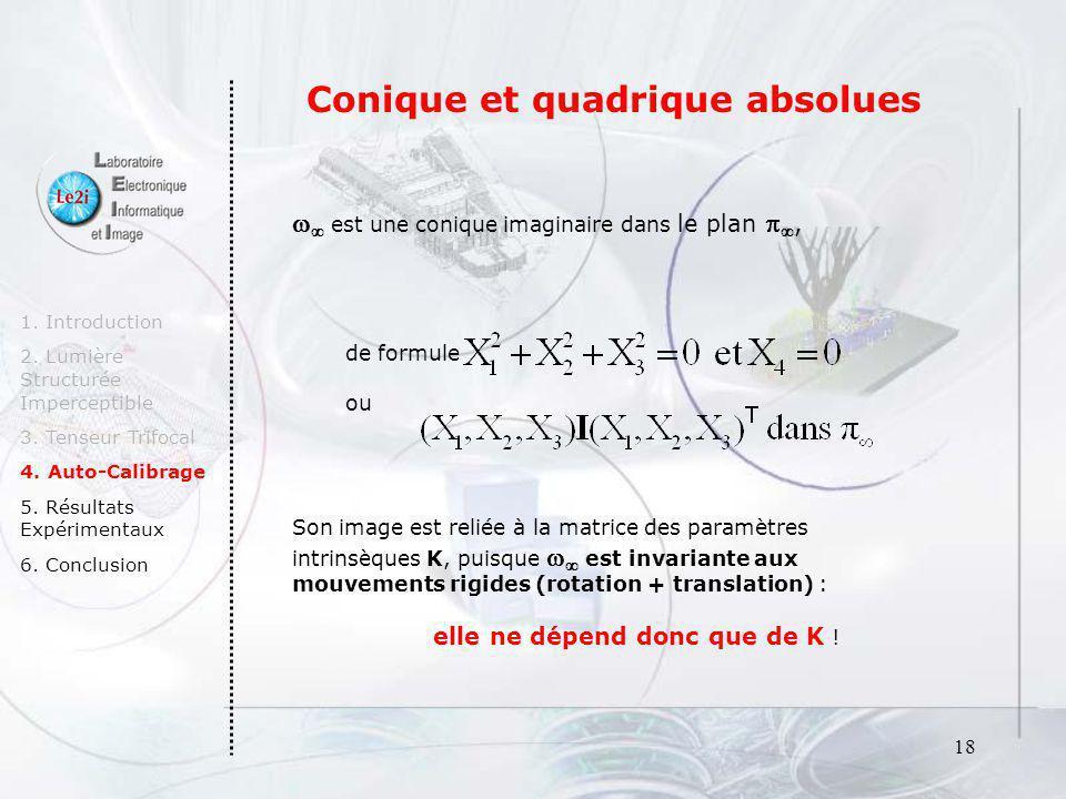 19 Le dual de la quadrique absolue* de code la conique absolue et le plan 1.