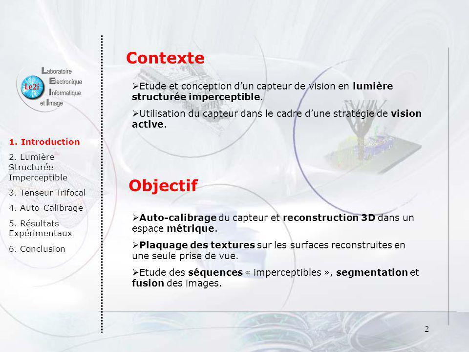 2 1. Introduction 2. Lumière Structurée Imperceptible 3. Tenseur Trifocal 4. Auto-Calibrage 5. Résultats Expérimentaux 6. Conclusion Contexte Etude et