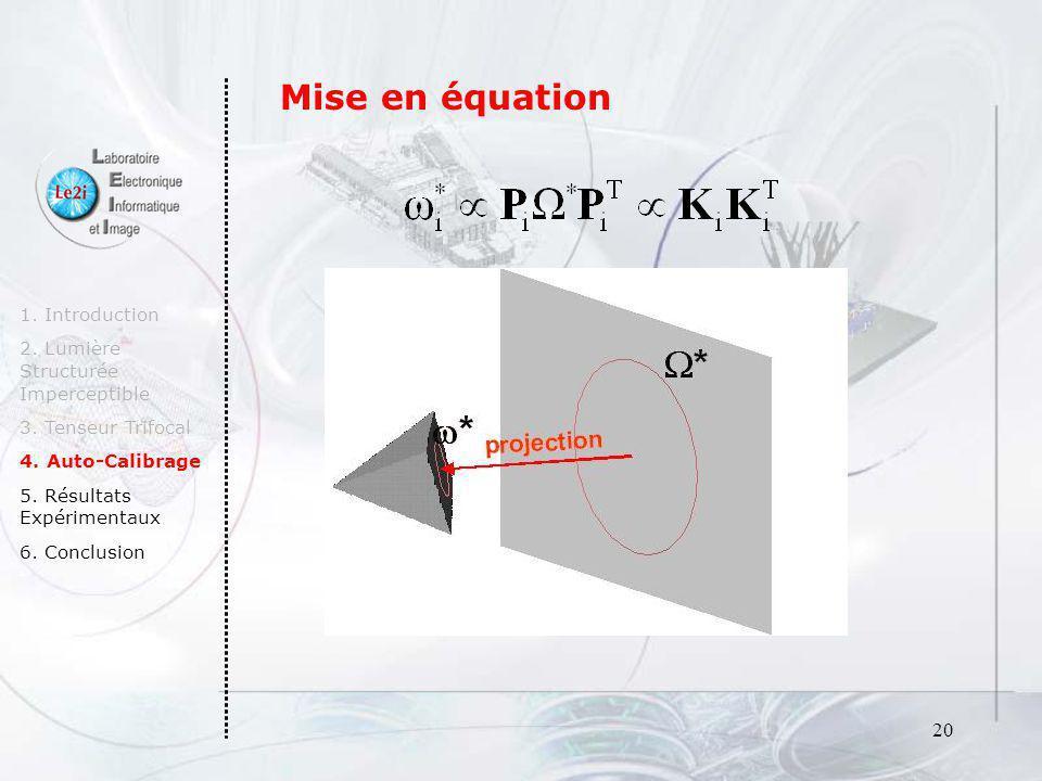 20 1. Introduction 2. Lumière Structurée Imperceptible 3. Tenseur Trifocal 4. Auto-Calibrage 5. Résultats Expérimentaux 6. Conclusion Mise en équation