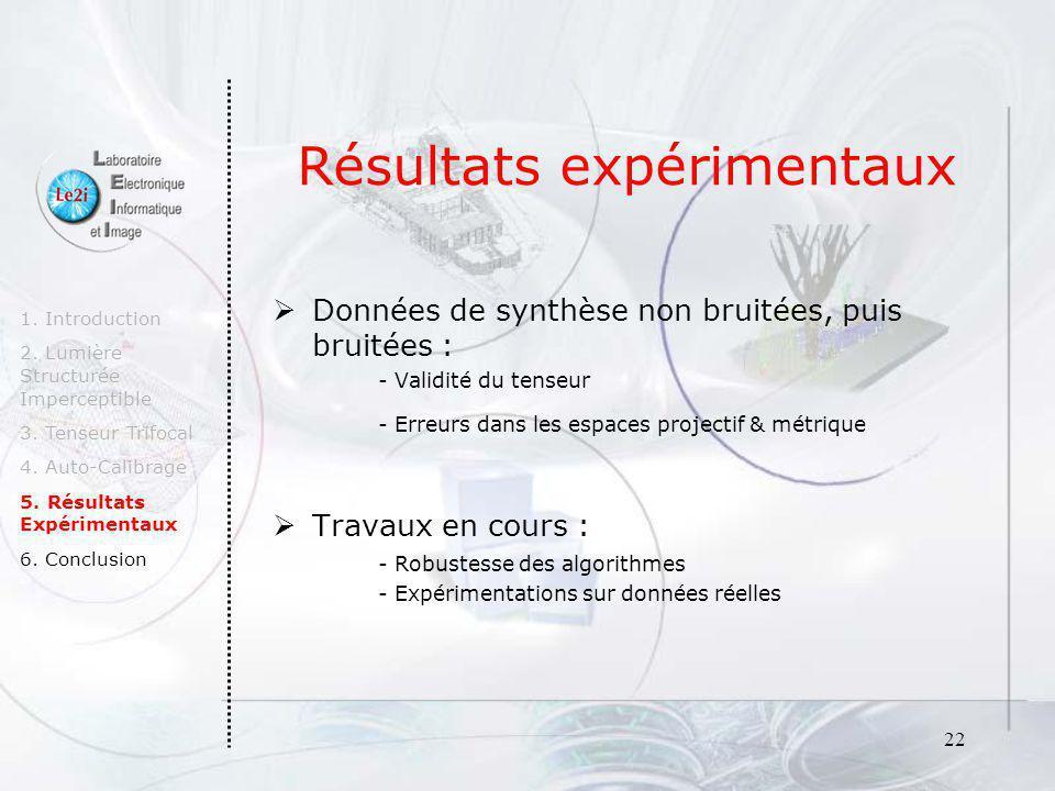 22 Résultats expérimentaux Données de synthèse non bruitées, puis bruitées : - Validité du tenseur - Erreurs dans les espaces projectif & métrique Tra
