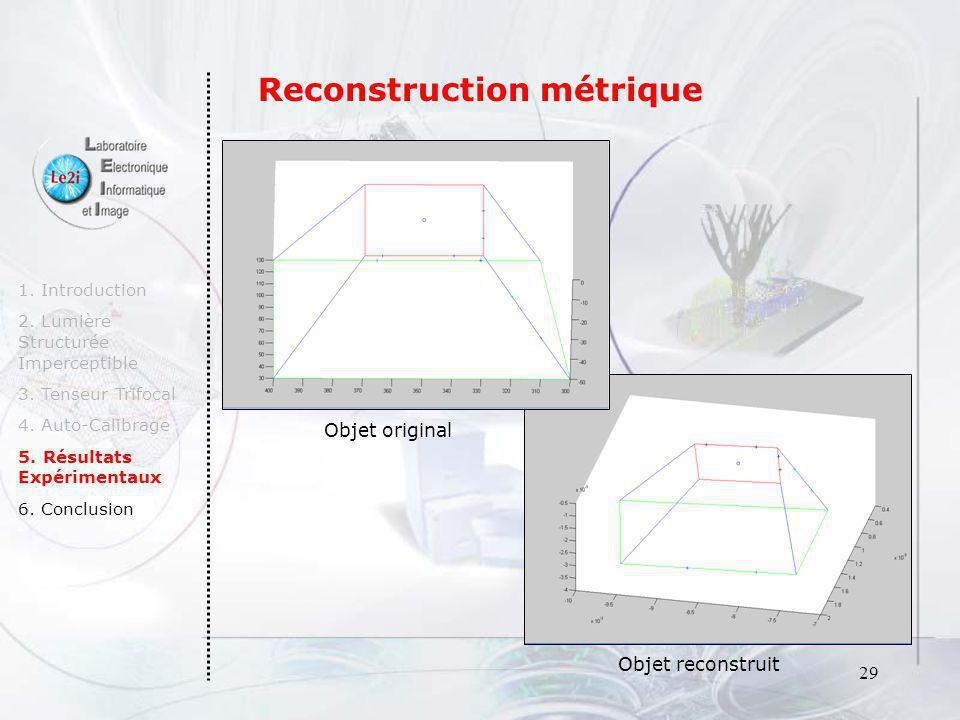 29 1. Introduction 2. Lumière Structurée Imperceptible 3. Tenseur Trifocal 4. Auto-Calibrage 5. Résultats Expérimentaux 6. Conclusion Objet reconstrui