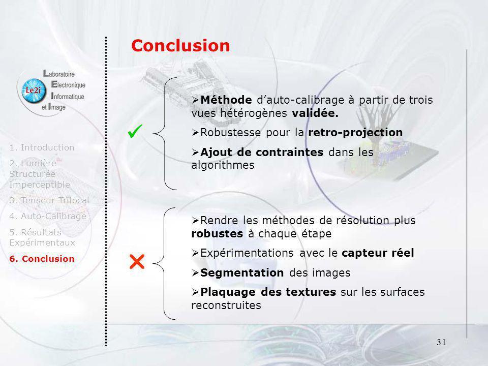 31 1. Introduction 2. Lumière Structurée Imperceptible 3. Tenseur Trifocal 4. Auto-Calibrage 5. Résultats Expérimentaux 6. Conclusion Méthode dauto-ca