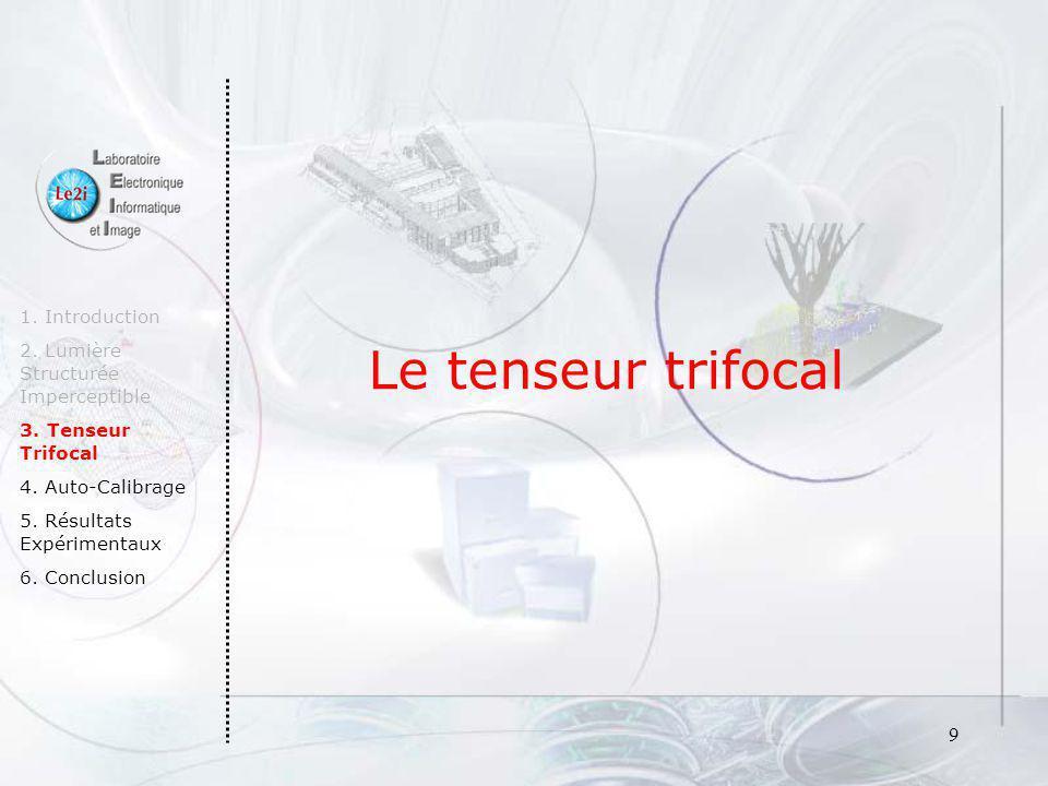 9 Le tenseur trifocal 1. Introduction 2. Lumière Structurée Imperceptible 3. Tenseur Trifocal 4. Auto-Calibrage 5. Résultats Expérimentaux 6. Conclusi
