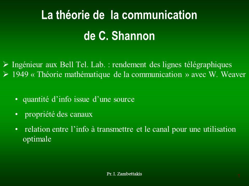 1 Pr. I. Zambettakis La théorie de la communication de C. Shannon Ingénieur aux Bell Tel. Lab. : rendement des lignes télégraphiques 1949 « Théorie ma