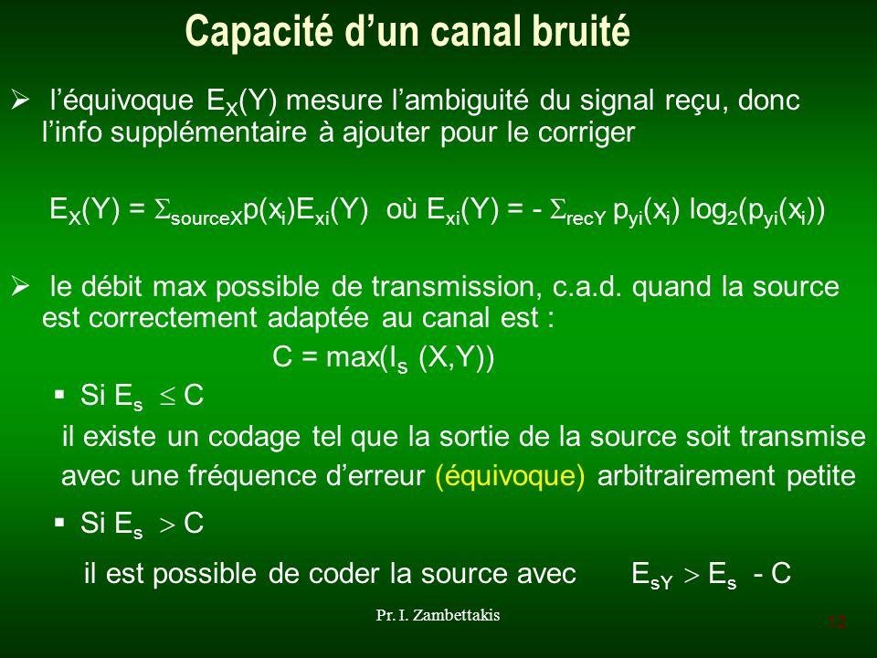 12 Pr. I. Zambettakis Capacité dun canal bruité léquivoque E X (Y) mesure lambiguité du signal reçu, donc linfo supplémentaire à ajouter pour le corri