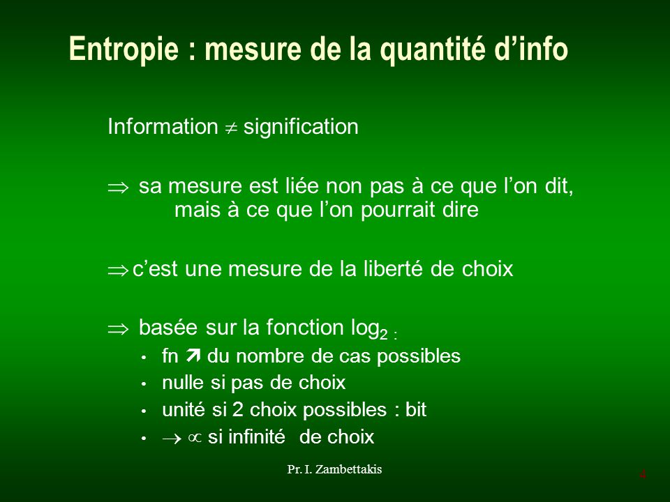 4 Pr. I. Zambettakis Entropie : mesure de la quantité dinfo Information signification sa mesure est liée non pas à ce que lon dit, mais à ce que lon p