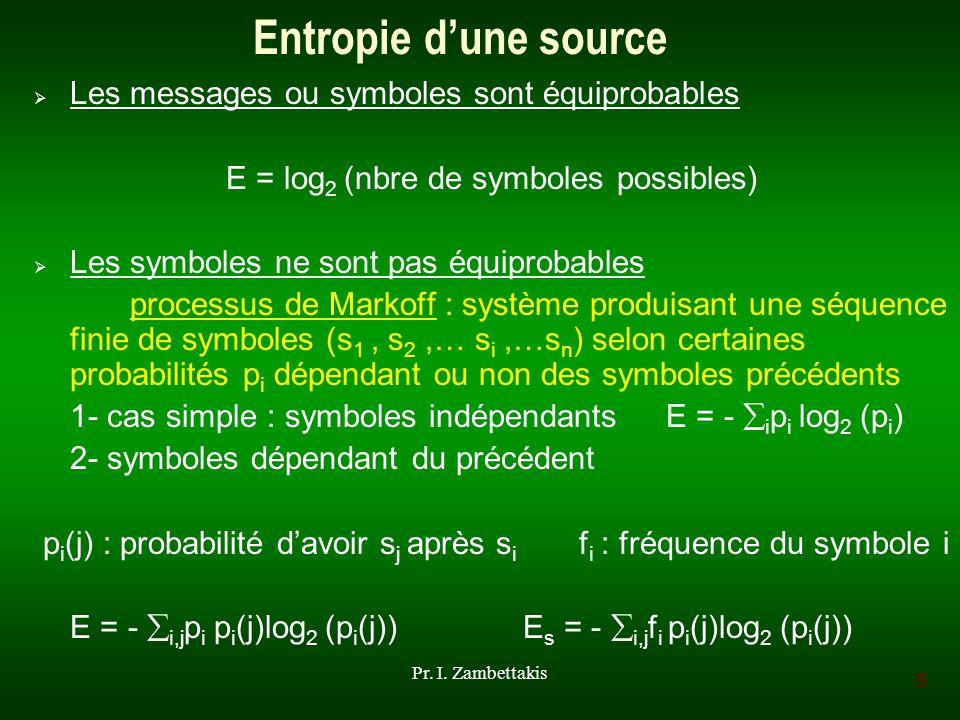 5 Pr. I. Zambettakis Entropie dune source Les messages ou symboles sont équiprobables E = log 2 (nbre de symboles possibles) Les symboles ne sont pas