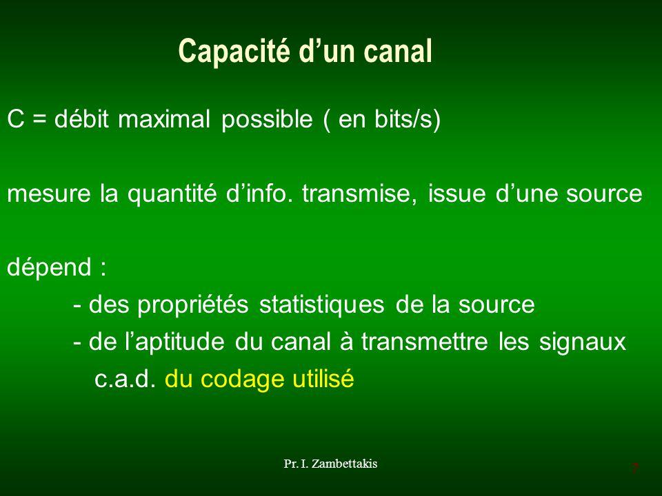 7 Pr. I. Zambettakis Capacité dun canal C = débit maximal possible ( en bits/s) mesure la quantité dinfo. transmise, issue dune source dépend : - des