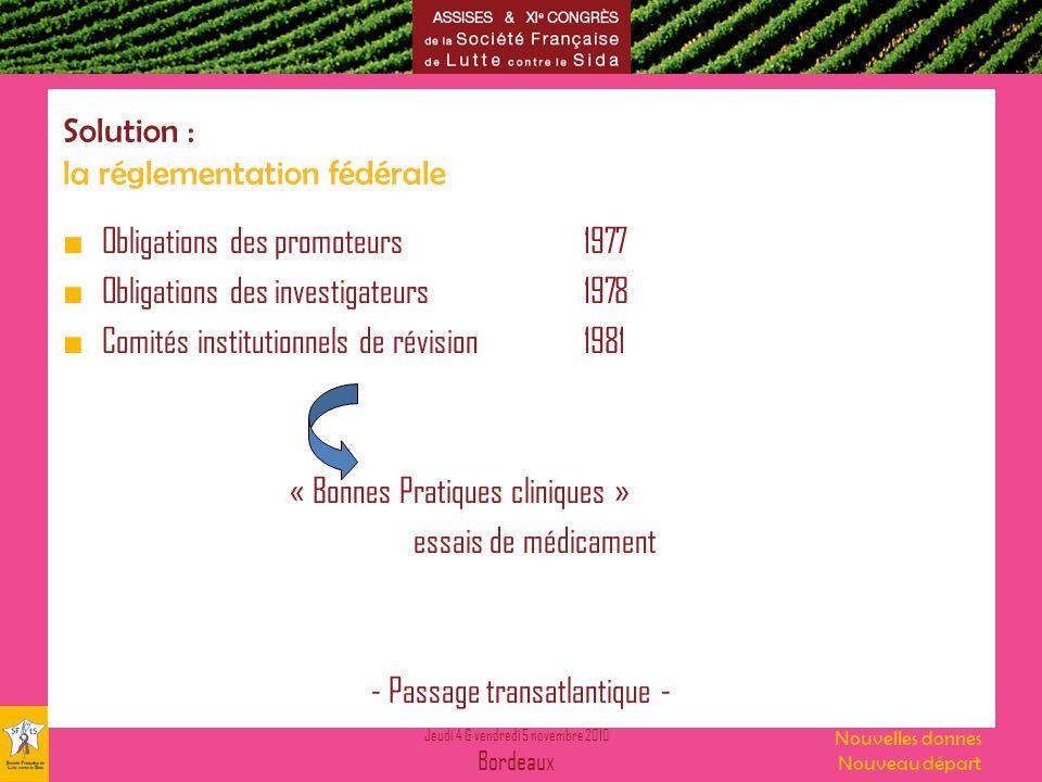 Jeudi 4 & vendredi 5 novembre 2010 Bordeaux Nouvelles donnes Nouveau départ Solution : la réglementation fédérale Obligations des promoteurs1977 Oblig