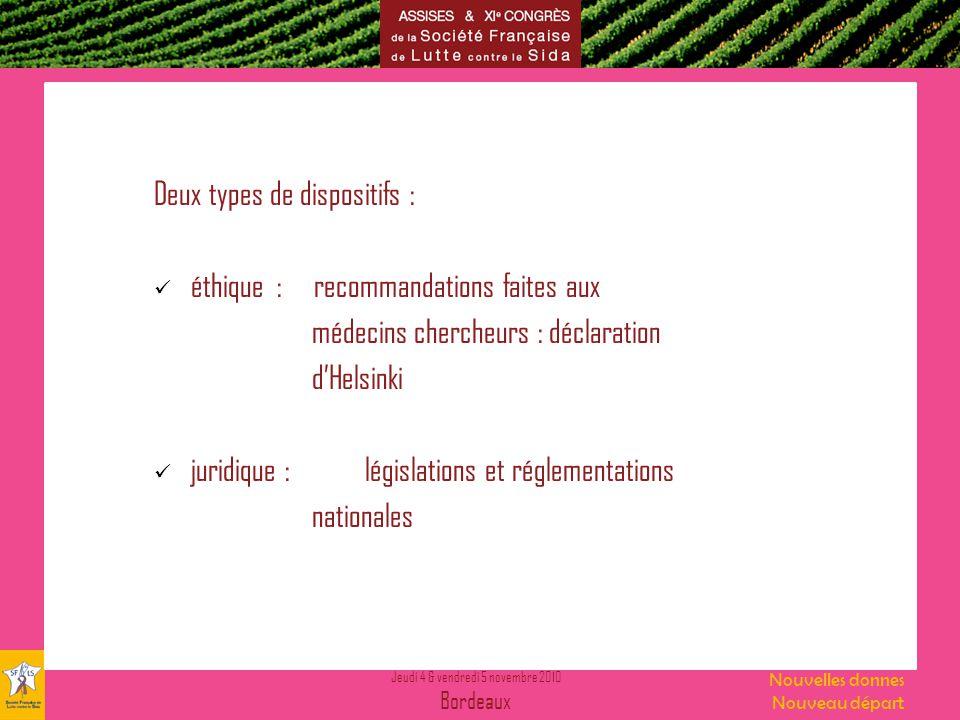 Jeudi 4 & vendredi 5 novembre 2010 Bordeaux Nouvelles donnes Nouveau départ Deux types de dispositifs : éthique : recommandations faites aux médecins