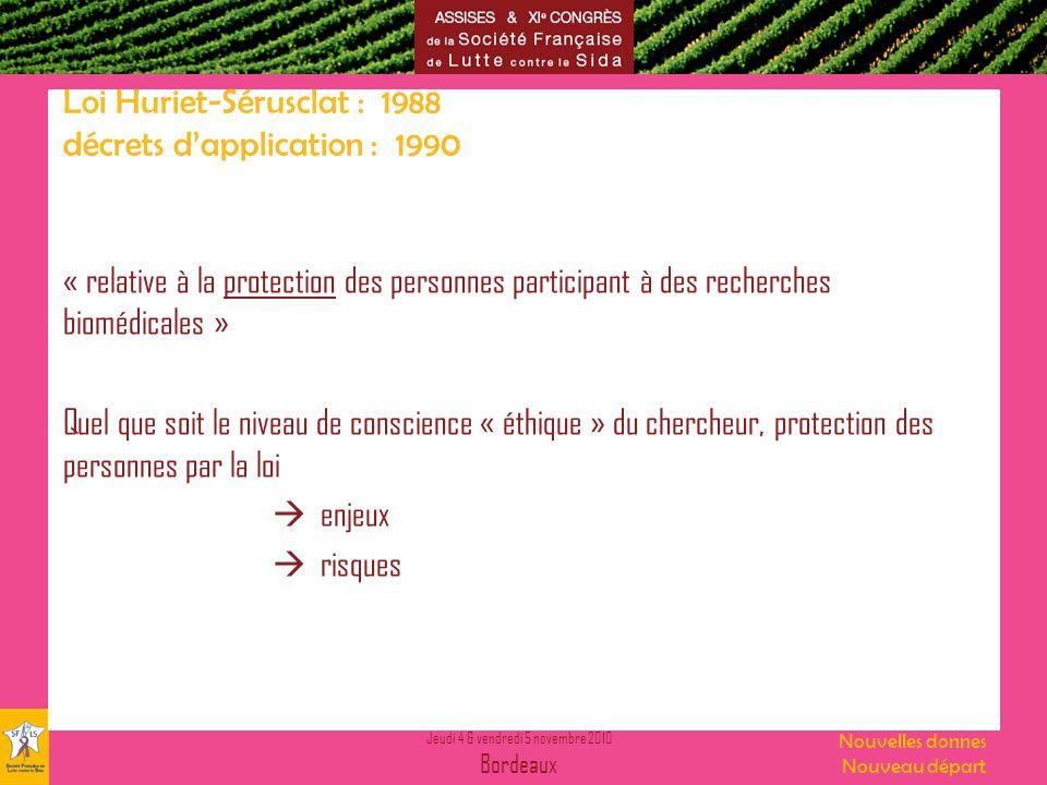 Jeudi 4 & vendredi 5 novembre 2010 Bordeaux Nouvelles donnes Nouveau départ Loi Huriet-Sérusclat : 1988 décrets dapplication : 1990 « relative à la pr