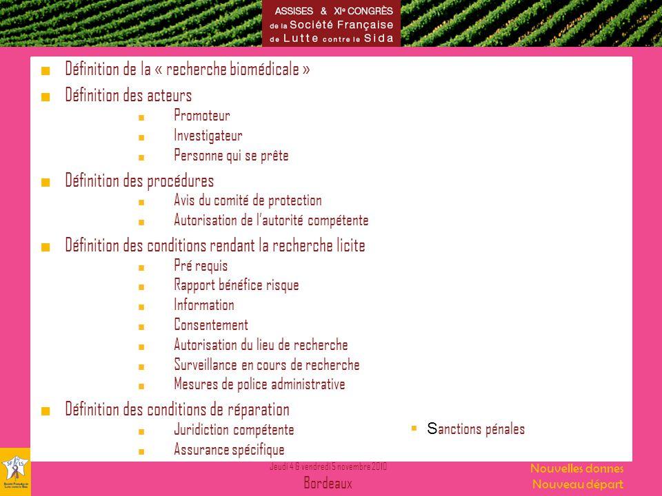 Jeudi 4 & vendredi 5 novembre 2010 Bordeaux Nouvelles donnes Nouveau départ Définition de la « recherche biomédicale » Définition des acteurs Promoteu