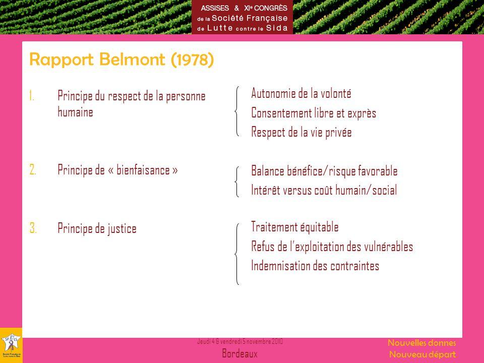 Jeudi 4 & vendredi 5 novembre 2010 Bordeaux Nouvelles donnes Nouveau départ Rapport Belmont (1978) 1.Principe du respect de la personne humaine 2.Prin