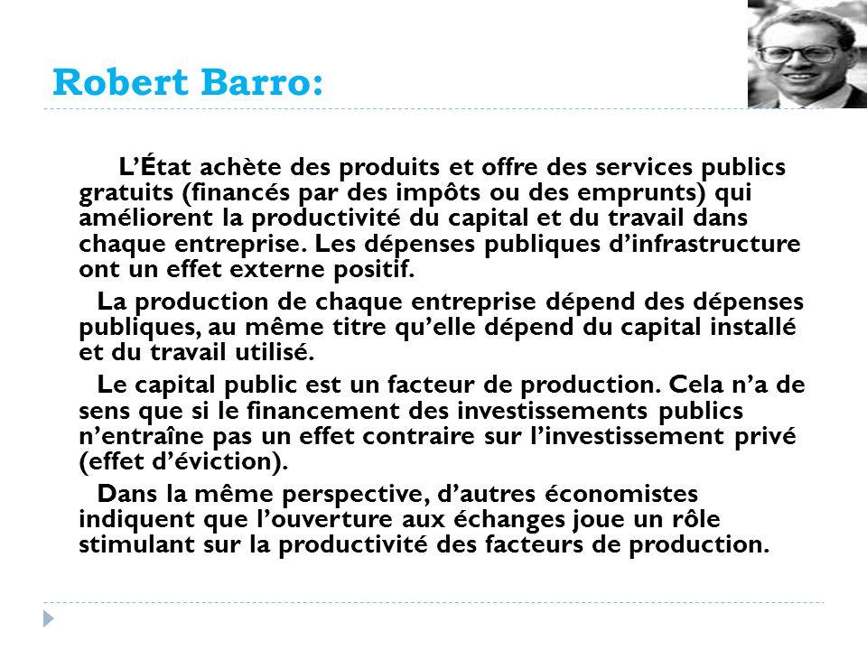 Robert Barro: LÉtat achète des produits et offre des services publics gratuits (financés par des impôts ou des emprunts) qui améliorent la productivit
