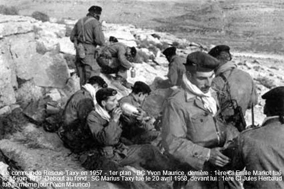 Le commando Rescue-Taxy en 1957 - 1er plan : BC Yvon Maurice, derrière : 1ère Cl Emile Markot tué le 15 juin 1957. Debout au fond : SC Marius Taxy tué