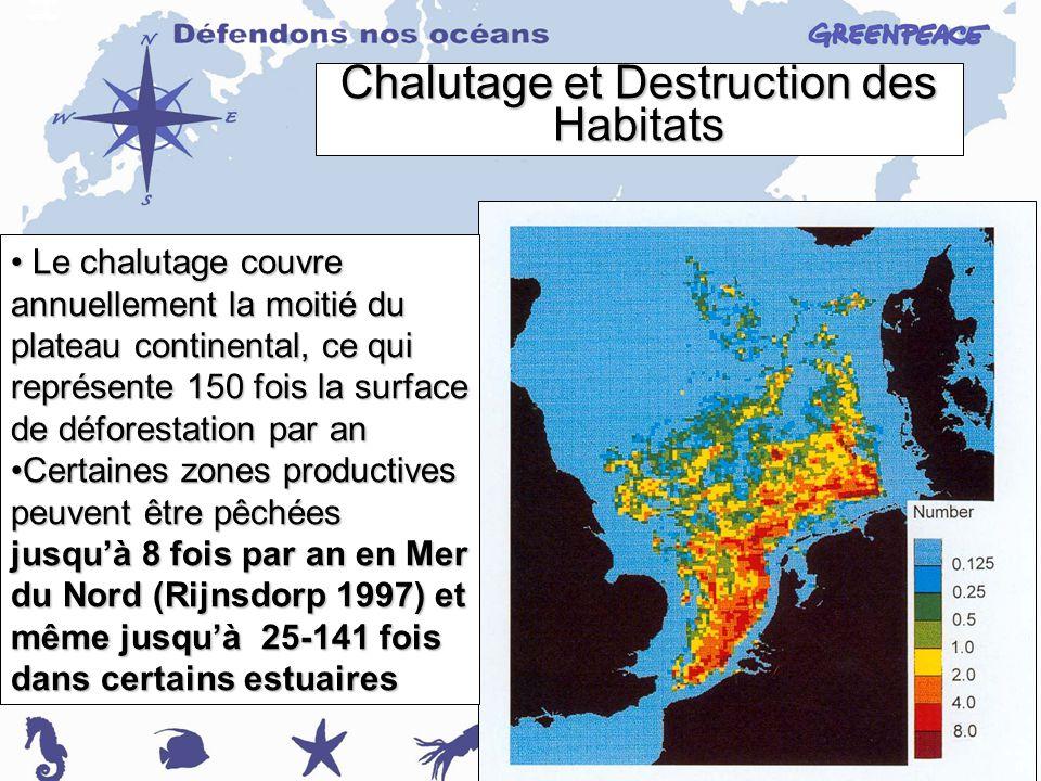 Chalutage et Destruction des Habitats Le chalutage couvre annuellement la moitié du plateau continental, ce qui représente 150 fois la surface de déforestation par an Le chalutage couvre annuellement la moitié du plateau continental, ce qui représente 150 fois la surface de déforestation par an Certaines zones productives peuvent être pêchées jusquà 8 fois par an en Mer du Nord (Rijnsdorp 1997) et même jusquà 25-141 fois dans certains estuairesCertaines zones productives peuvent être pêchées jusquà 8 fois par an en Mer du Nord (Rijnsdorp 1997) et même jusquà 25-141 fois dans certains estuaires
