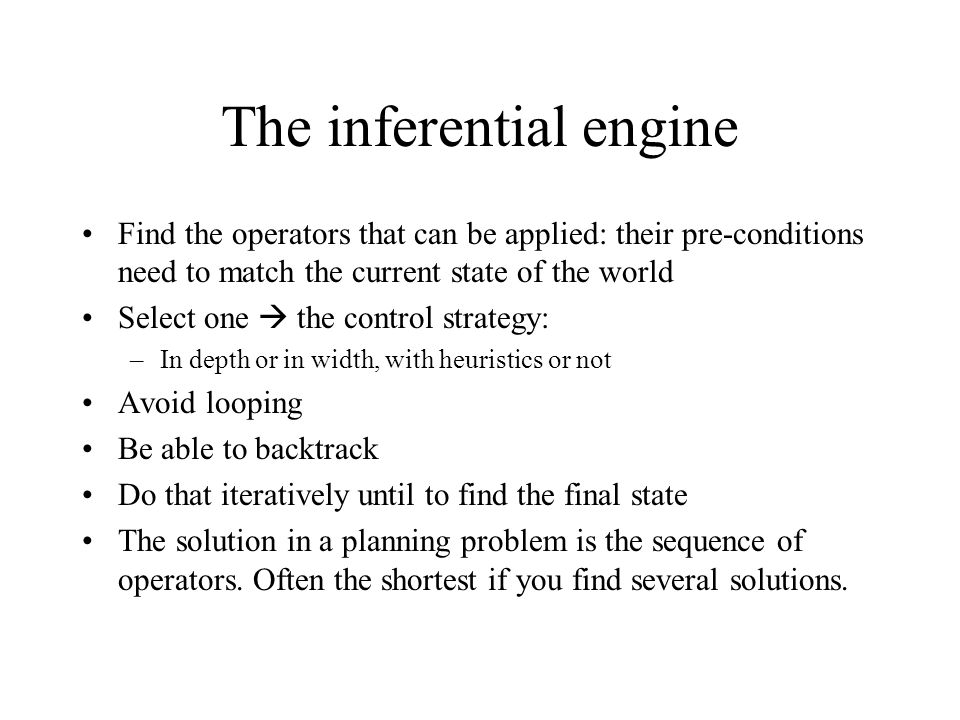 The inferential engine Find the operators that can be applied: their pre-conditions need to match the current state of the world Select one the contro