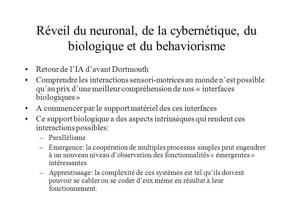 Réveil du neuronal, de la cybernétique, du biologique et du behaviorisme Retour de lIA davant Dortmouth Comprendre les interactions sensori-motrices a