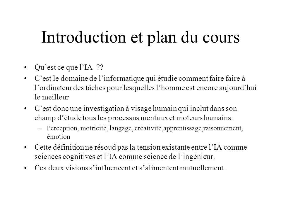 Introduction et plan du cours Quest ce que lIA ?? Cest le domaine de linformatique qui étudie comment faire faire à lordinateur des tâches pour lesque