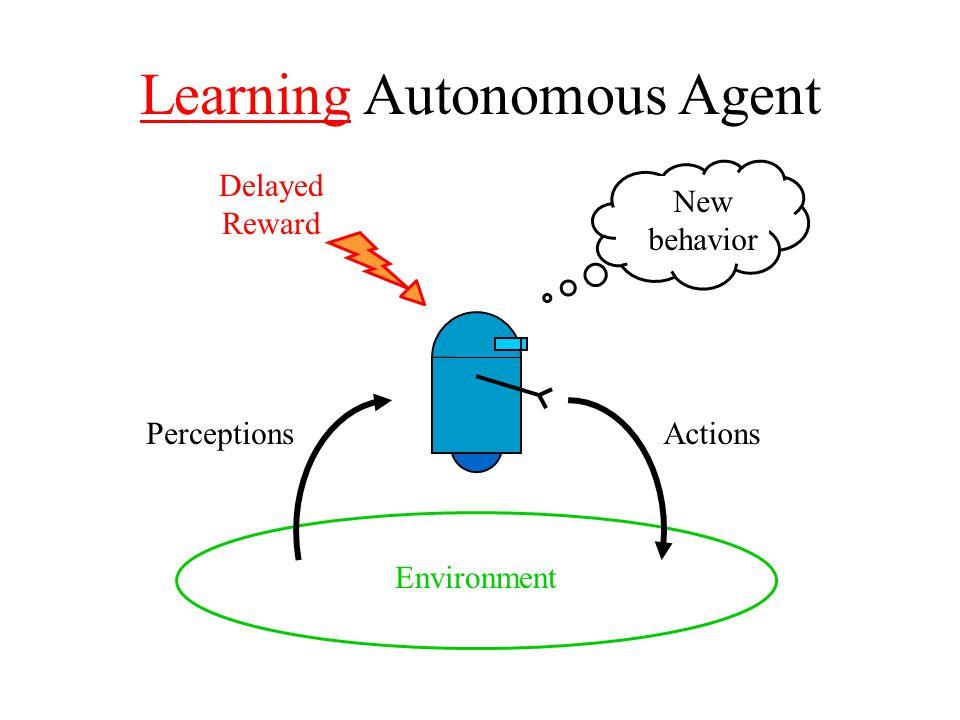 Learning Autonomous Agent Environment ActionsPerceptions New behavior Delayed Reward