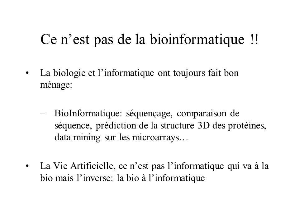 Ce nest pas de la bioinformatique !! La biologie et linformatique ont toujours fait bon ménage: –BioInformatique: séquençage, comparaison de séquence,