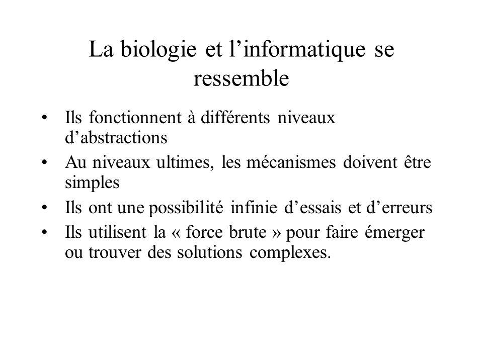 La biologie et linformatique se ressemble Ils fonctionnent à différents niveaux dabstractions Au niveaux ultimes, les mécanismes doivent être simples