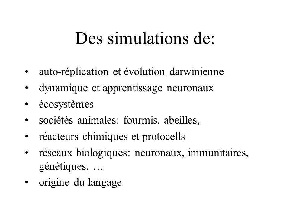 Des simulations de: auto-réplication et évolution darwinienne dynamique et apprentissage neuronaux écosystèmes sociétés animales: fourmis, abeilles, r