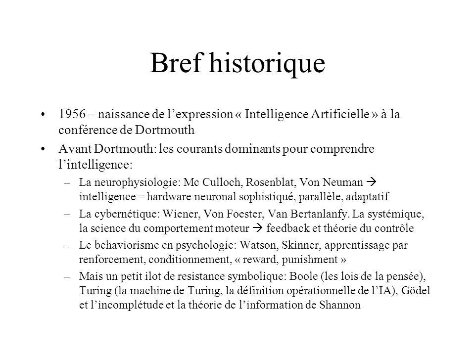 Bref historique 1956 – naissance de lexpression « Intelligence Artificielle » à la conférence de Dortmouth Avant Dortmouth: les courants dominants pou
