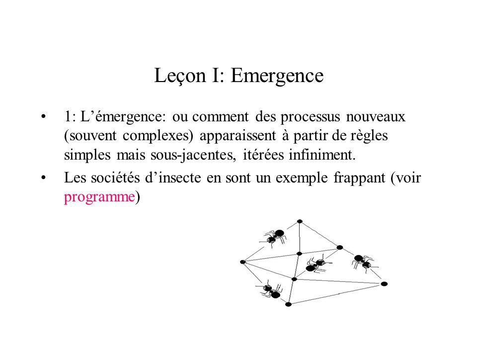 Leçon I: Emergence 1: Lémergence: ou comment des processus nouveaux (souvent complexes) apparaissent à partir de règles simples mais sous-jacentes, it