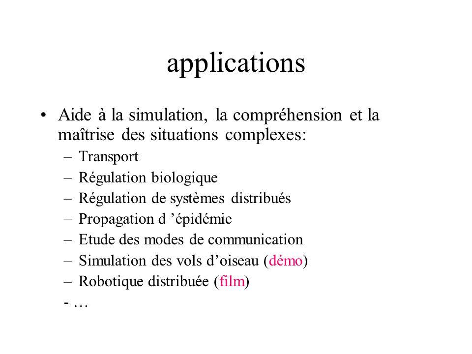 applications Aide à la simulation, la compréhension et la maîtrise des situations complexes: –Transport –Régulation biologique –Régulation de systèmes
