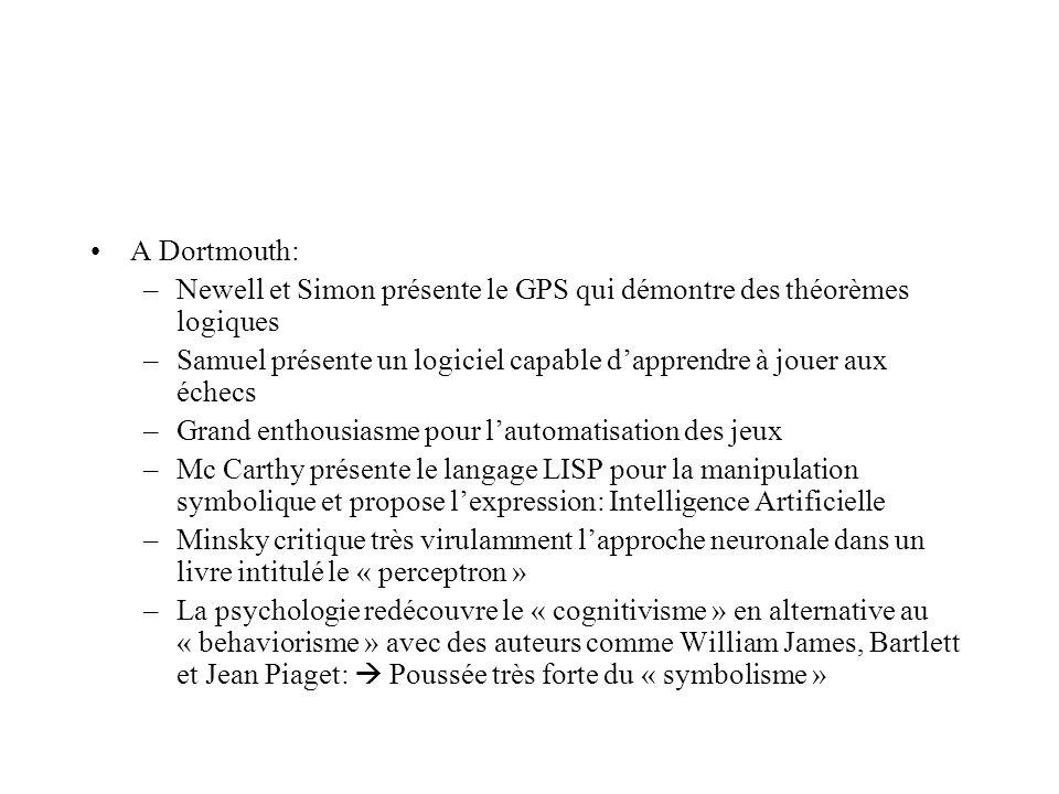 A Dortmouth: –Newell et Simon présente le GPS qui démontre des théorèmes logiques –Samuel présente un logiciel capable dapprendre à jouer aux échecs –