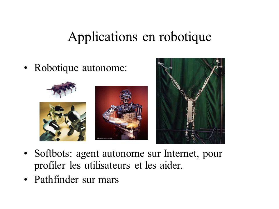 Applications en robotique Robotique autonome: Softbots: agent autonome sur Internet, pour profiler les utilisateurs et les aider. Pathfinder sur mars