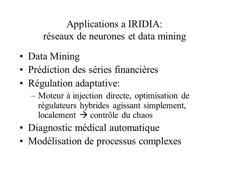Applications a IRIDIA: réseaux de neurones et data mining Data Mining Prédiction des séries financières Régulation adaptative: –Moteur à injection dir
