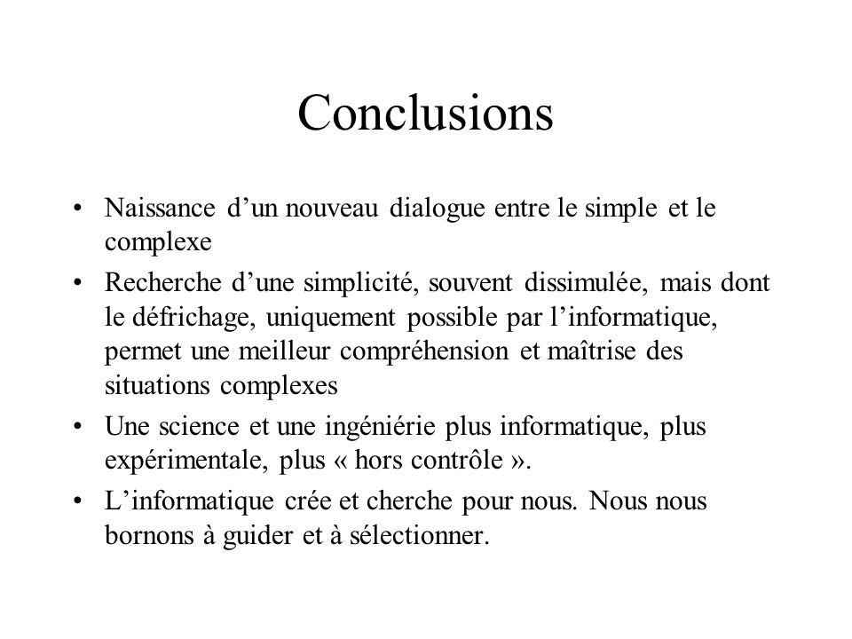 Conclusions Naissance dun nouveau dialogue entre le simple et le complexe Recherche dune simplicité, souvent dissimulée, mais dont le défrichage, uniq
