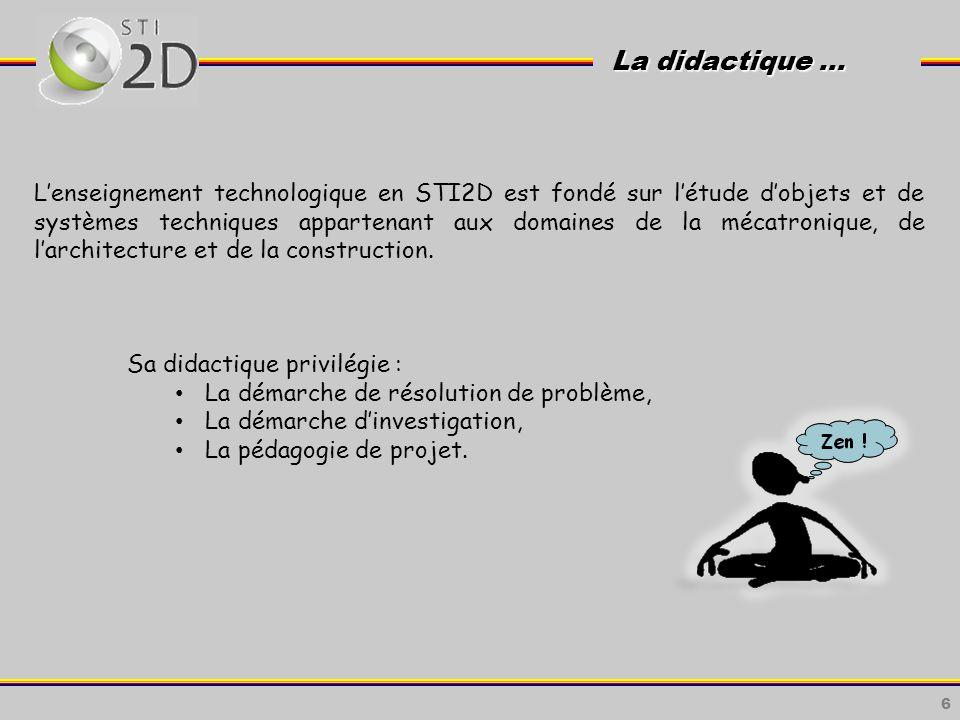 6 La didactique … La didactique … Lenseignement technologique en STI2D est fondé sur létude dobjets et de systèmes techniques appartenant aux domaines de la mécatronique, de larchitecture et de la construction.