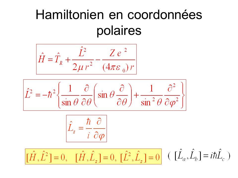Il existe des fonctions propres communes à H, L 2 et L z