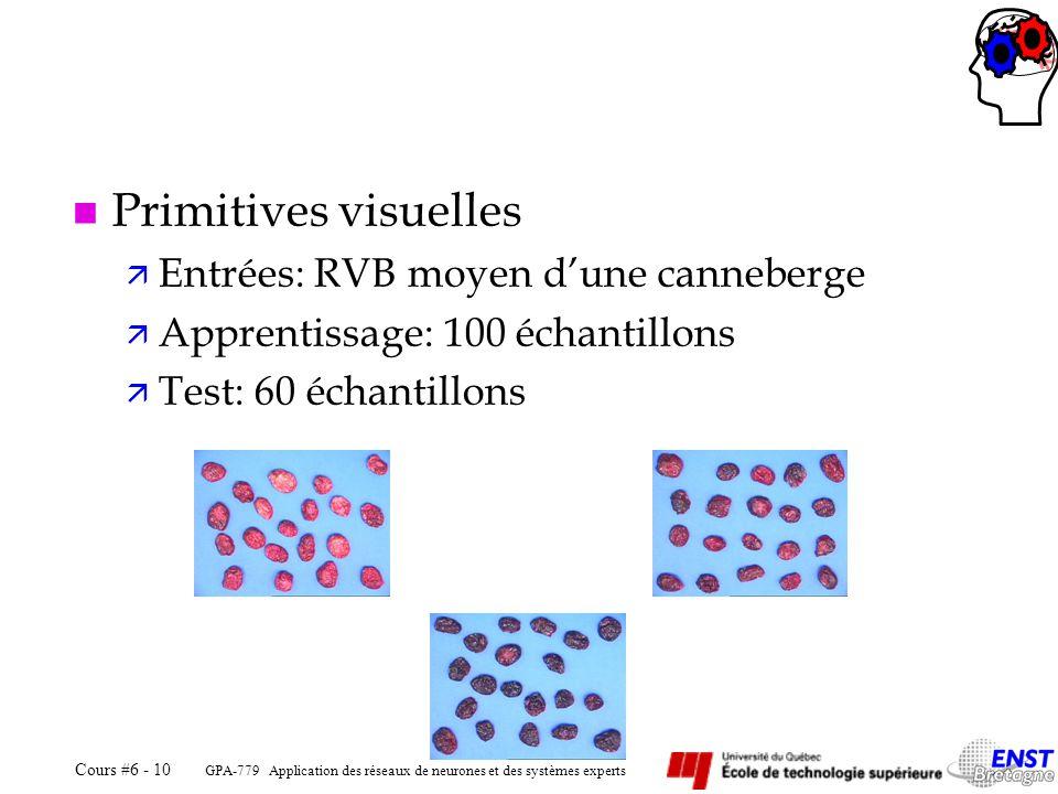 GPA-779 Application des réseaux de neurones et des systèmes experts Cours #6 - 10 n Primitives visuelles ä Entrées: RVB moyen dune canneberge ä Appren