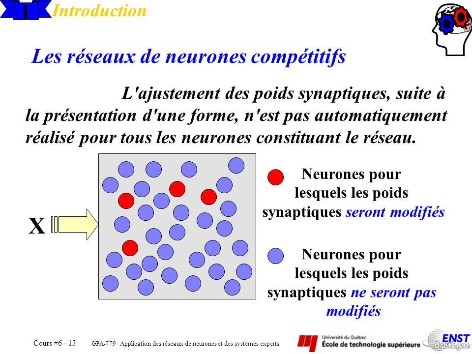GPA-779 Application des réseaux de neurones et des systèmes experts Cours #6 - 13 Neurones pour lesquels les poids synaptiques seront modifiés 1 Intro